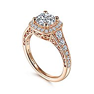 Florence 14k Rose Gold Round Halo Engagement Ring