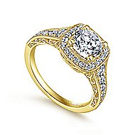 Florence 14k Yellow Gold Round Halo Engagement Ring