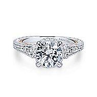 Fonda 18k White And Rose Gold Round Halo Engagement Ring angle 1