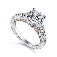 Fonda 18k White And Rose Gold Round Halo Engagement Ring angle 3