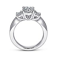 Fortuna 14k White Gold Round 3 Stones Engagement Ring angle 2