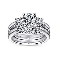 Fortuna 14k White Gold Round 3 Stones Engagement Ring angle 4