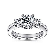 Fortuna 14k White Gold Round 3 Stones Engagement Ring angle 5