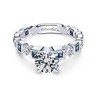 Frances 14k White Gold Round Straight Engagement Ring angle 1