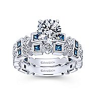 Frances 14k White Gold Round Straight Engagement Ring angle 4