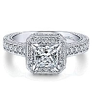 Frederica 14k White Gold Princess Cut Halo Engagement Ring angle 1