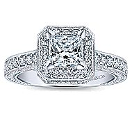 Frederica 14k White Gold Princess Cut Halo Engagement Ring angle 5