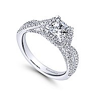Freesia 14k White Gold Princess Cut Halo Engagement Ring angle 3
