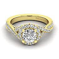 Freesia 14k Yellow Gold Round Halo Engagement Ring angle 1