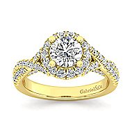 Freesia 14k Yellow Gold Round Halo Engagement Ring angle 5