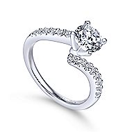 Freya 14k White Gold Round Bypass Engagement Ring angle 3