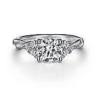 Frida 14k White Gold Round Twisted Engagement Ring angle 1