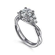 Frida 14k White Gold Round Twisted Engagement Ring angle 3