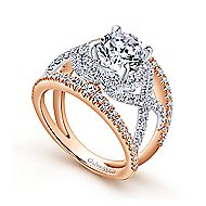 Gabriella 18k White And Rose Gold Round Split Shank Engagement Ring angle 3