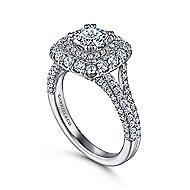 Gardenia 14k White Gold Cushion Cut Double Halo Engagement Ring angle 3