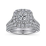 Gardenia 14k White Gold Cushion Cut Double Halo Engagement Ring angle 4