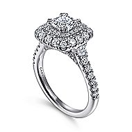 Gardenia 14k White Gold Cushion Cut Halo Engagement Ring