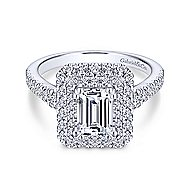 Gardenia 14k White Gold Emerald Cut Double Halo Engagement Ring