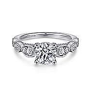 Garland 14k White Gold Round Straight Engagement Ring angle 1