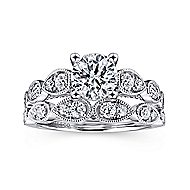 Garland 14k White Gold Round Straight Engagement Ring