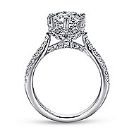 Genoa 18k White Gold Round Straight Engagement Ring angle 2