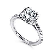 Georgia 18k White Gold Princess Cut Halo Engagement Ring angle 3