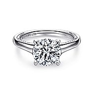 Gia 18k White Gold Round Straight Engagement Ring angle 1