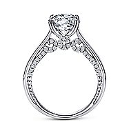Gia 18k White Gold Round Straight Engagement Ring angle 2