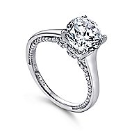 Gia 18k White Gold Round Straight Engagement Ring angle 3