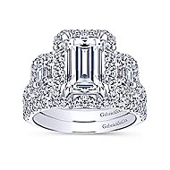 Gibson 14k White Gold Emerald Cut 3 Stones Halo Engagement Ring