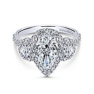 Gibson 18k White Gold Pear Shape 3 Stones Halo Engagement Ring