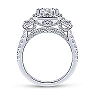 Gibson 18k White Gold Princess Cut 3 Stones Halo Engagement Ring