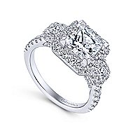 Gibson 18k White Gold Princess Cut 3 Stones Halo Engagement Ring angle 3
