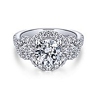 Gibson 18k White Gold Round 3 Stones Halo Engagement Ring angle 1