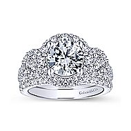 Gibson 18k White Gold Round 3 Stones Halo Engagement Ring angle 4