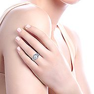 Gibson 18k White Gold Round 3 Stones Halo Engagement Ring angle 7