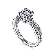 Gina 14k White Gold Round Twisted Engagement Ring angle 3