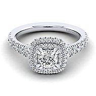 Ginger 14k White Gold Cushion Cut Double Halo Engagement Ring