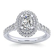 Ginger 14k White Gold Oval Double Halo Engagement Ring angle 5