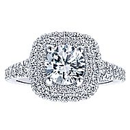 Ginger 14k White Gold Round Double Halo Engagement Ring angle 5