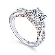 Gisela 14k White And Rose Gold Round Twisted Engagement Ring