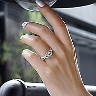 Gisela 14k White And Rose Gold Round Twisted Engagement Ring angle 6