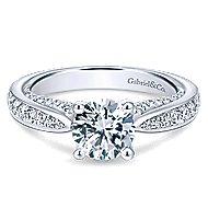 Gladiola 14k White Gold Round Straight Engagement Ring angle 1