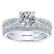 Gladiola 14k White Gold Round Straight Engagement Ring angle 4