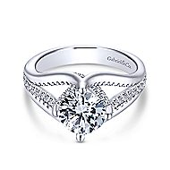 Gladys 18k White Gold Round Free Form Engagement Ring angle 1