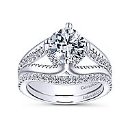 Gladys 18k White Gold Round Free Form Engagement Ring angle 4