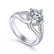 Gladys 18k White Gold Round Split Shank Engagement Ring