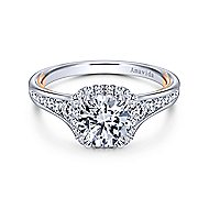 Glendale 18k White And Rose Gold Round Halo Engagement Ring angle 1