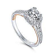 Glendale 18k White And Rose Gold Round Halo Engagement Ring angle 3