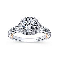 Glendale 18k White And Rose Gold Round Halo Engagement Ring angle 5